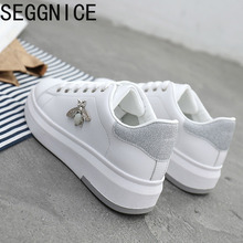 SEGGNICE Casual Shoes 2019 New Women Fashion Sneakers Platform White Woman