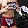Historieta del Algodón de Calidad superior Para Hombre Boxeadores de la Ropa Interior Bragas 3D Cabeza del Lobo Lobo Masculino Transpirable Más Tamaño Encantador Mens Boxer Cuecas