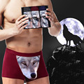 Top Quality Cotton Cartoon Mens Wolf Boxers Underwear Panties 3D Wolf Head Breathable Male Plus Size Lovely Mens Boxer Cuecas