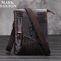 Luxury Alligator Pattern Natural Genuine leather men bag Vintage shoulder crossbody bag Small Casual Fashion men messenger bags