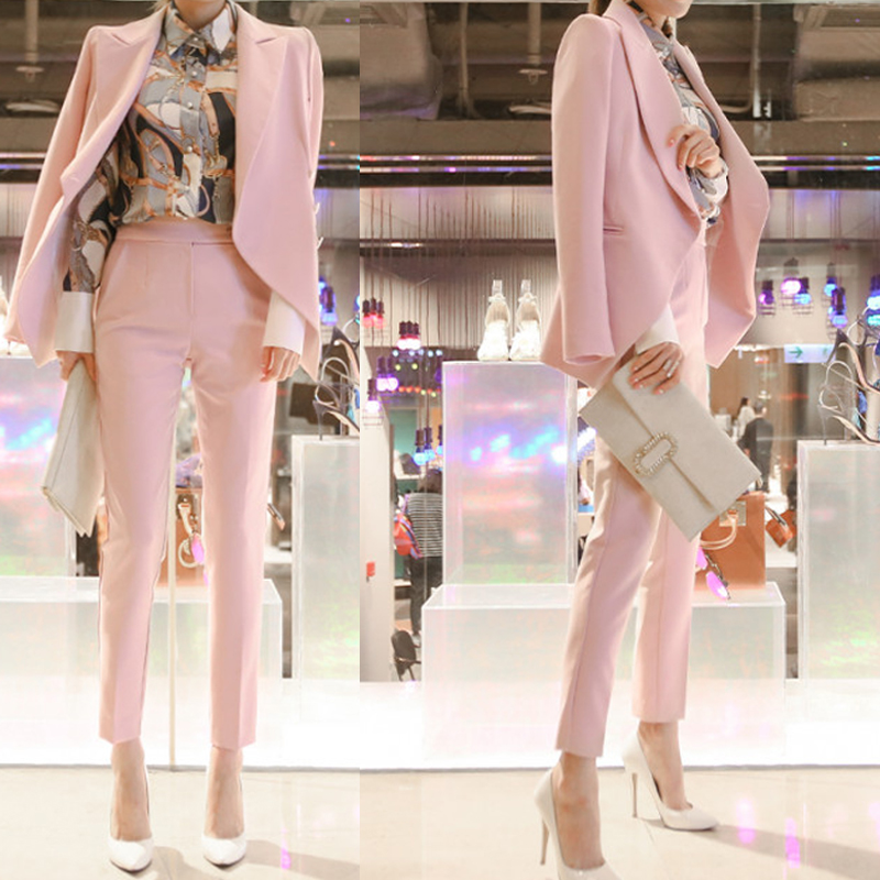Women's suit female 2019 new fashion temperament female pink suit jacket + nine pants thin casual suit two-piece Price $70.95