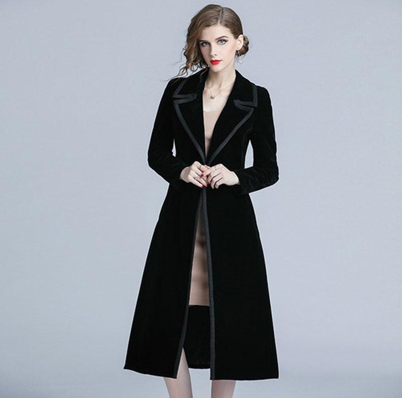 Vintage Tench Coat Woman Coat 2018 Spring Autumn Long Sleeve Turn down Collar Black Velvet Windbreaker