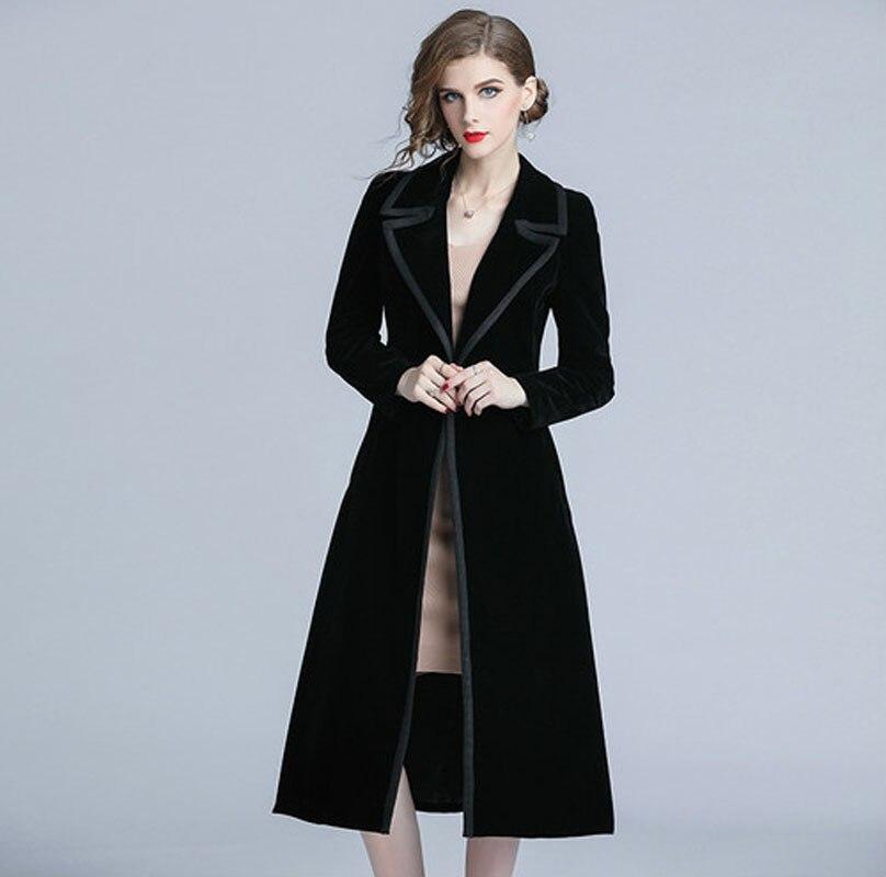 Vintage Tench Coat Woman Coat 2018 Spring Autumn Long Sleeve Turn-down Collar Black Velvet Windbreaker Female Black Long Coats