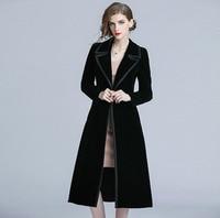 Vintage Tench Coat Woman Coat 2018 Spring Autumn Long Sleeve Turn down Collar Black Velvet Windbreaker Female Black Long Coats
