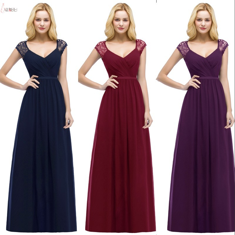 2019 Cheap Burgundy Purple Navy Blue Chiffon Long Bridesmaid Dresses Sleeveless V Neck Wedding Party Guest Dress