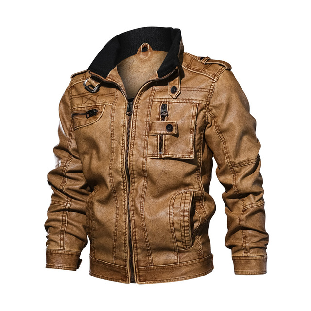 LetsKeep Mens PU Leather Moto jacket men Vintage Autumn Jackets Coat Stand Collar Windbreaker Jacket Plus size XL-5XL , MA496