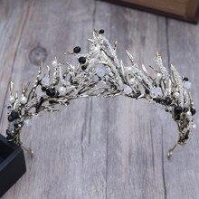 Baroque Bronze Vintage Princess Hair Crown Handmade Artificial Pink/Black Rhinestone Quinceanera Wedding Accessory Hairwear