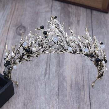 Baroque Bronze Vintage Princess Hair Crown Handmade Artificial Pink/Black Rhinestone Quinceanera Wedding Hair Accessory Hairwear