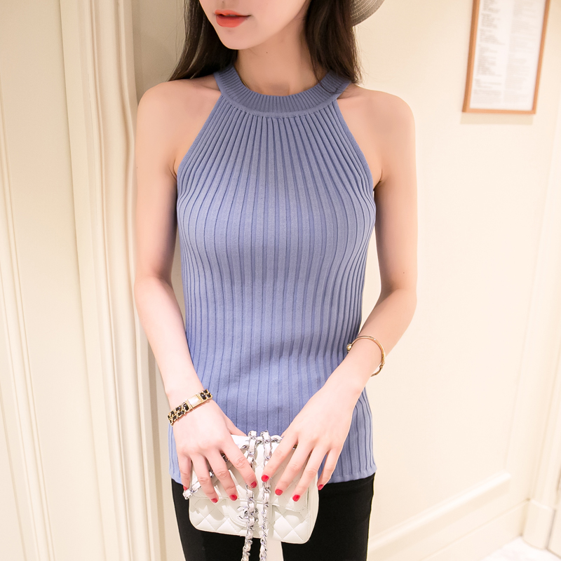 Off Shoulder Tank Top Femme Knitted Cotton Crop Top Women 2016 Winter Tops Halter Cropped Debardeur Blouses Vest Woman Clothes