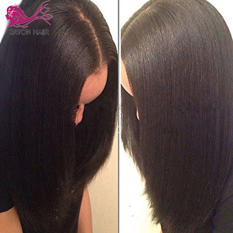 EAYON Light Italian Yaki Silk Top Glueless full lace Wigs 5x4 5 Yaki Straight Wigs Brazilian