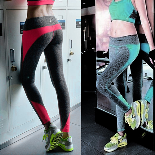 New Arrival Fashion Women Slim Color Block Pants font b Fitness b font Leggings
