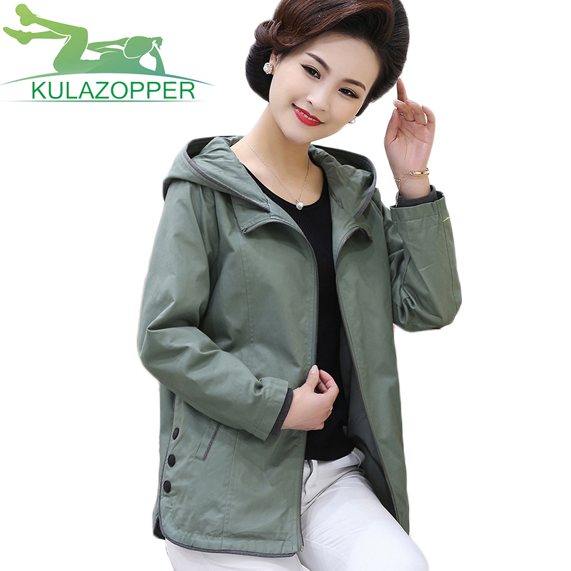 Mother loaded 2018 New Autumn coat 40-50 years Loose middle-aged womens Large size windbreaker long-sleeved Hooded jacket ky042