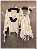 2018 Spring New Arrive Women Fashion V Collar Loose Tassel Sweater With Lace Top