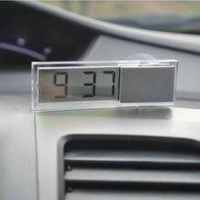 Samochód elektroniczny zegar cyfrowy przyssawka mini cyfrowy LCD zegar z wyświetlaczem dla konsoli środkowej przednie szyby samochodowe ozdoby