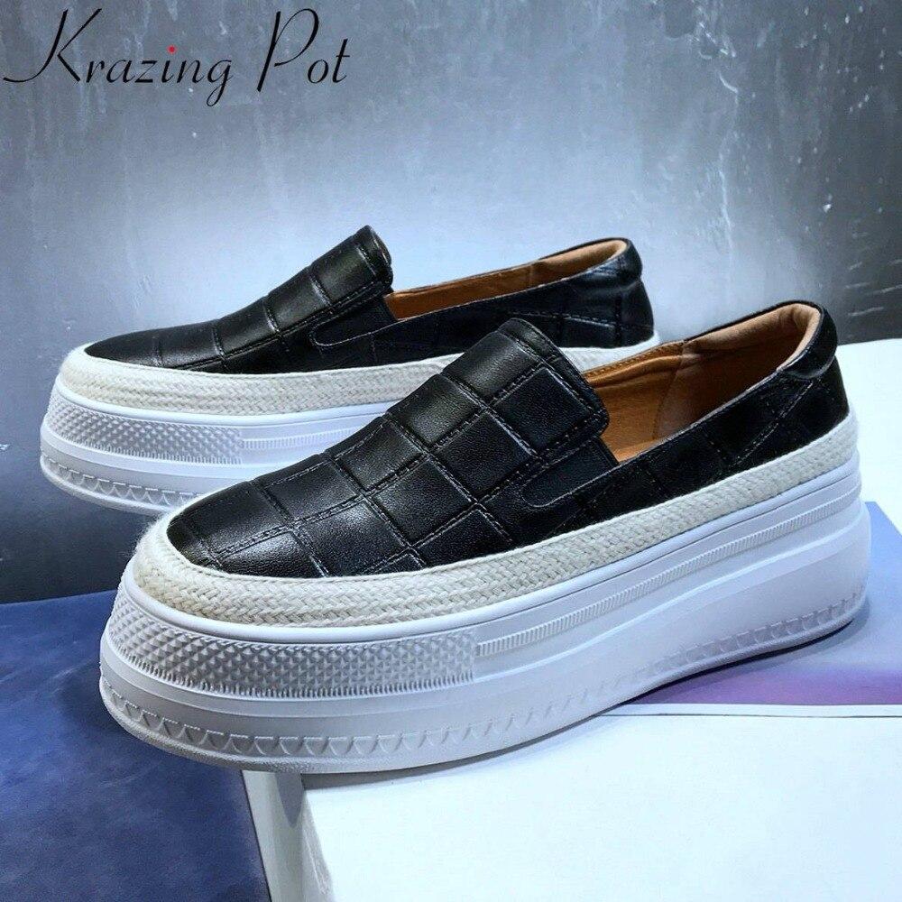 Krazing Pot Européenne superstars bout rond épais haute fond glissement sur la plate-forme véritable mocassins en cuir datant chaussures vulcanisées L18