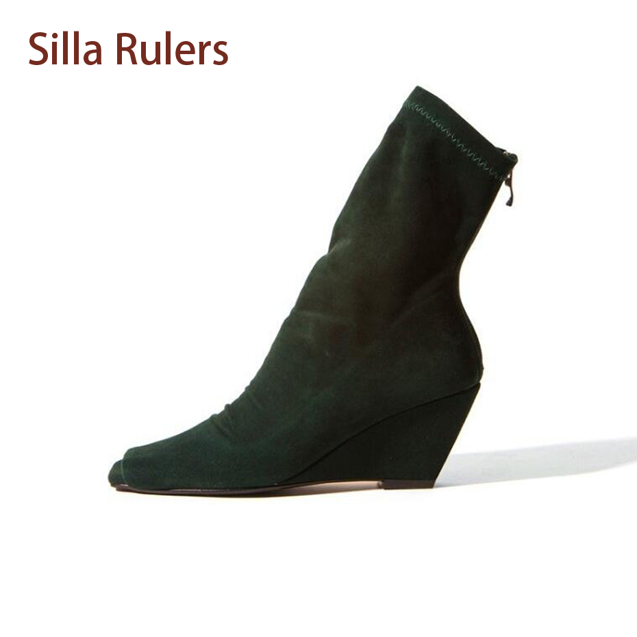 Silla Rulers Euramerican Women Stretch Short Boots Peep Toe Slip On Botas Wedge High Heels Elastic Sock Fashion Ankle Booties nayiduyun women genuine leather wedge high heel pumps platform creepers round toe slip on casual shoes boots wedge sneakers