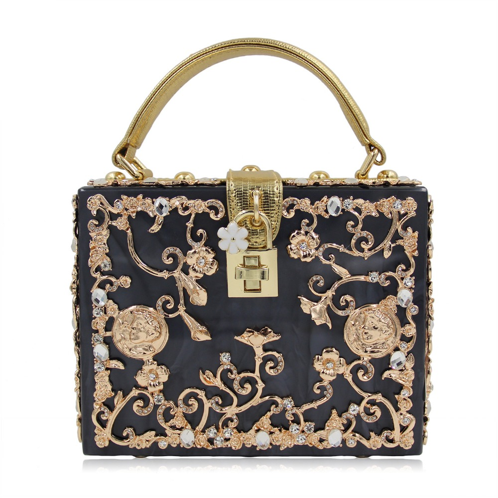 Gold Acrylic Flowers Luxury Handbag Women Shoulder Diamond Messenger Crossbody Bags Evening Totes Box Lock Clutch Party Purse luxury handbag evening bag diamond flower hollow clutch designer bag box relief acrylic banquet party purse women shoulder bags