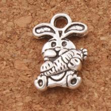 150pcs  9.8x14.7mm Tibetan Silver Easter Bunny Carrot Rabbit Charms Pendants Jewelry DIY Fit Bracelets Necklace Earrings L059
