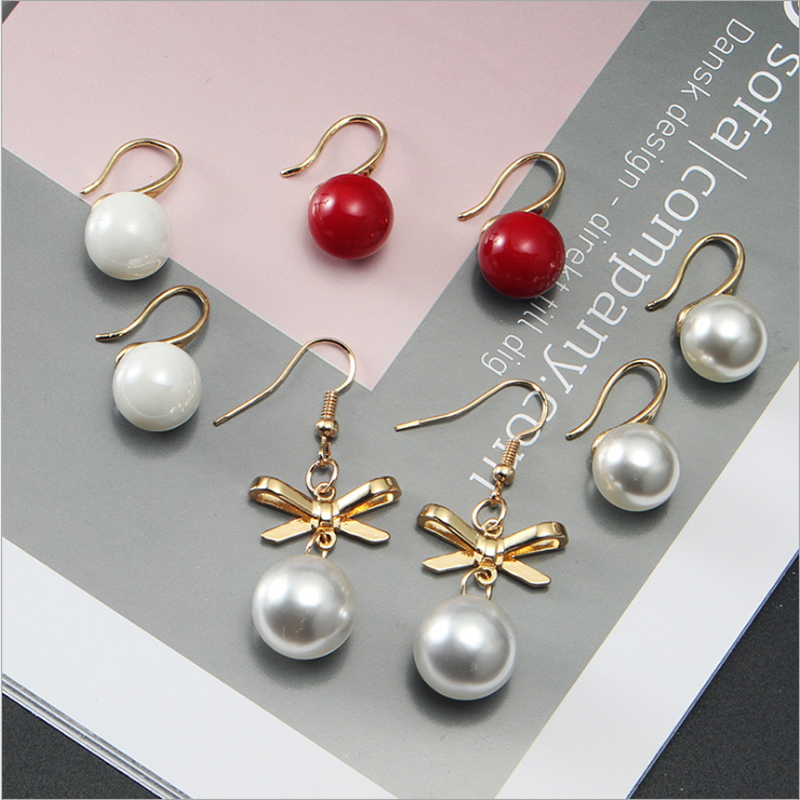 Earrings Xedz Fashion Korean Version Of The New Pearl Earrings Bow Personality Fashion Female Eearrings Simple Temperament Earrings Providing Amenities For The People; Making Life Easier For The Population Jewelry & Accessories