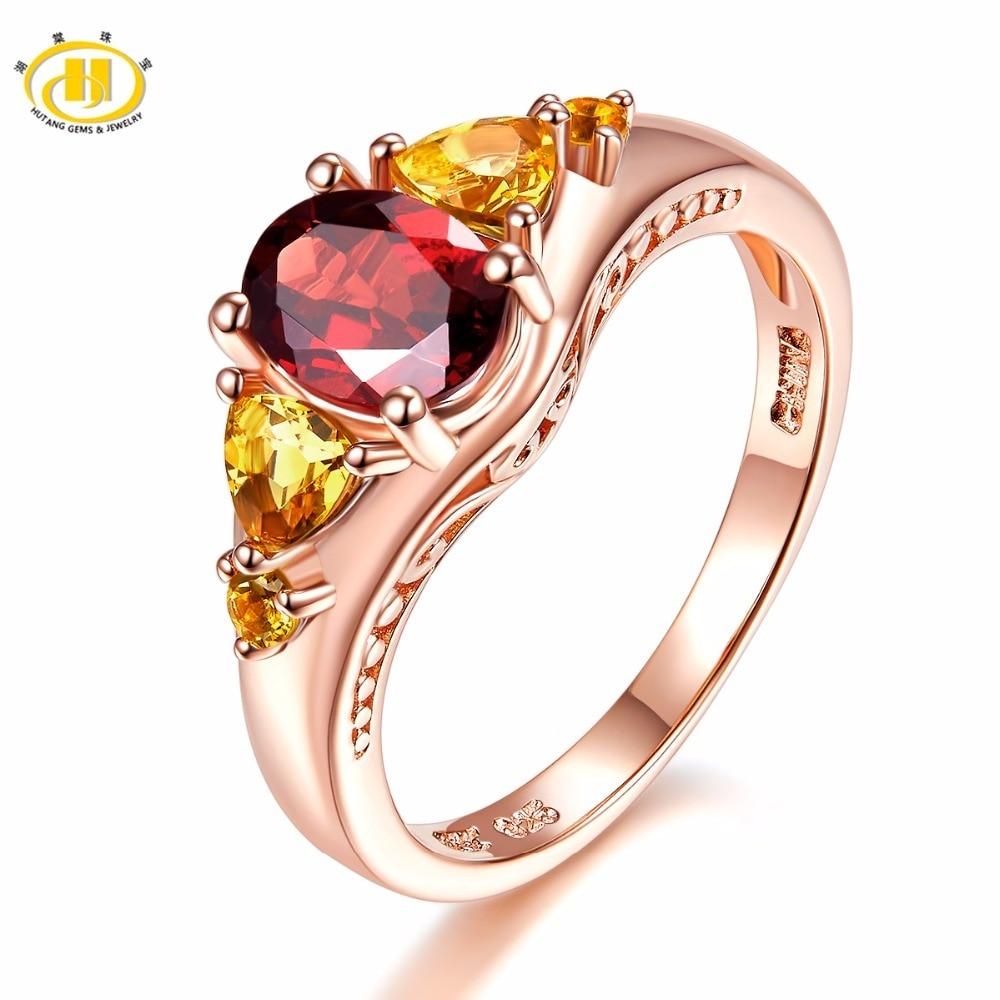 HUTANG 2 14ct Natural Gemstone Engagement Ring Garnet Citrine Solid 925 Sterling Silver Fine Fashion Stone