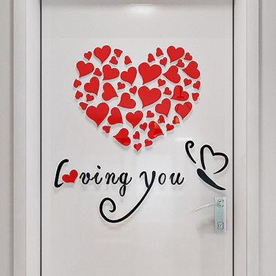 3D Acrylic Loving Heart Quotes Wall Stickers Adesivos De Parede Decoration Chambre Stickers Muraux Pour Enfants Chambres Wedding