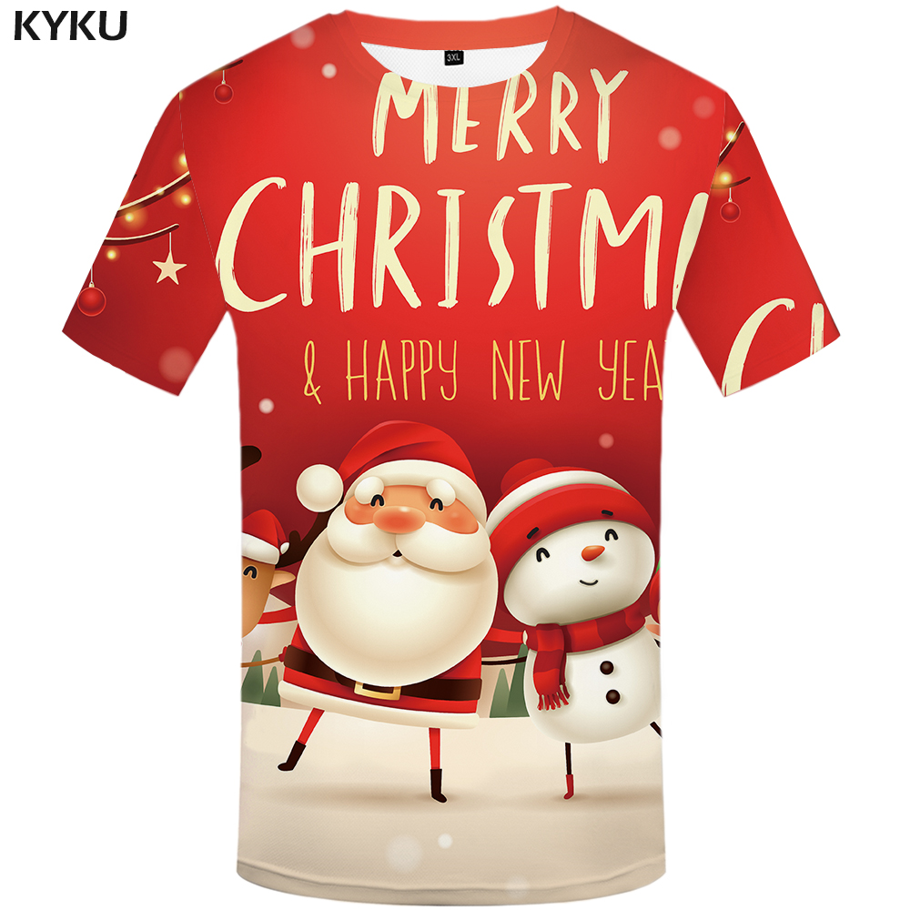 Funny T Shirts Christmas T-shirts Men Xmas Tshirts Casual Santa Claus T Shirt 3d Snowman Print Party Tshirt Printed Short Sleeve