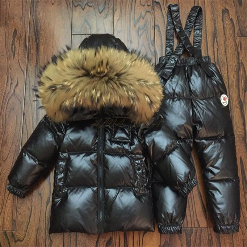Children Winter Down Clothing Set Kids Ski Jackets And Pants Overalls For Boys Girls 0-12 Y Outerwear Coat Toddler Snowsuit