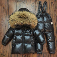 Children Winter Down Clothing Set Kids Ski Jackets And Pants Overalls For Boys Girls 0 12 Y Outerwear Coat Toddler Snowsuit