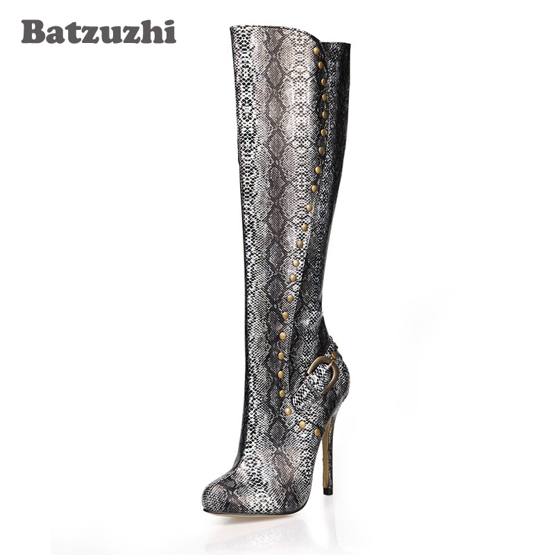 Batzuzhi-12cm Luxury Women Boots Pointed Toe Knee High Boots Women Sexy Motocycle Boots Party Botas, Big Size 35-43 batzuzhi 2018 handmade women shoes pointed toe 12cm long boots ladies white knee high party botas mujer winter big size 43