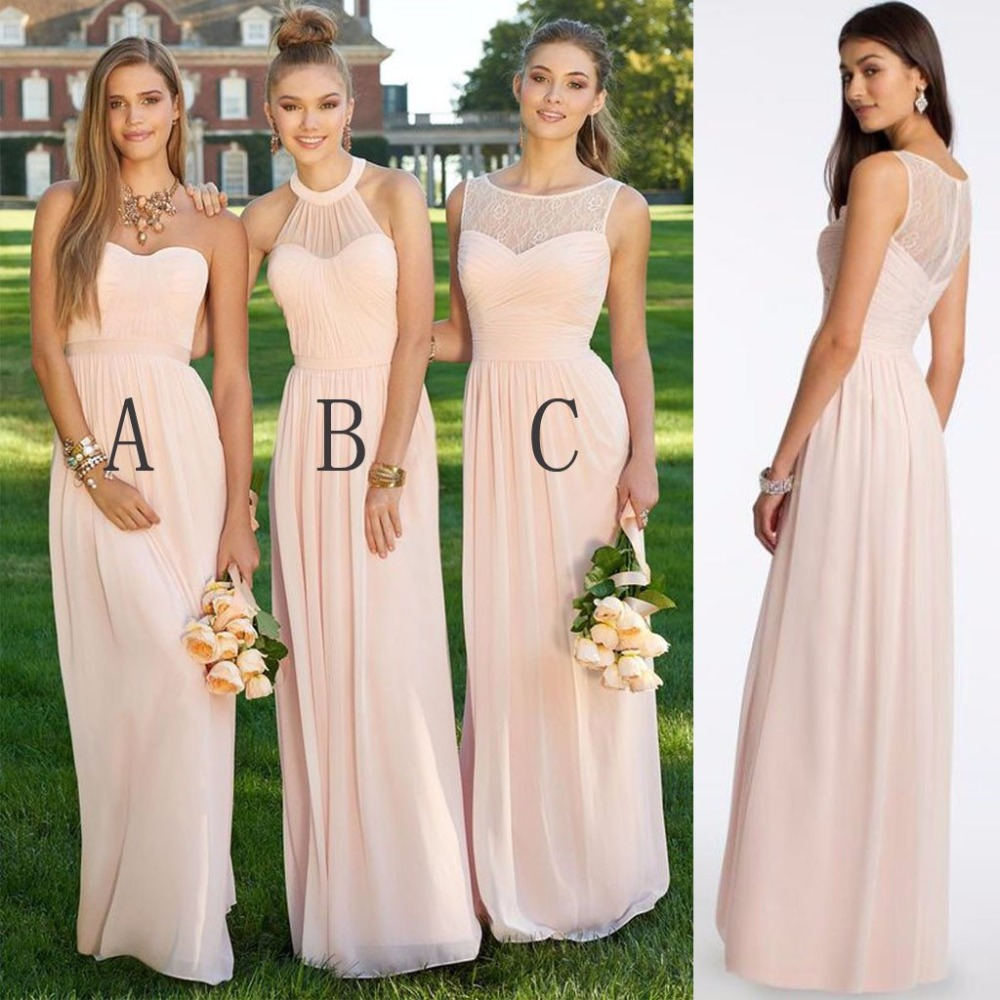 New Stunning Peach Bridesmaid Dress 2019 Sweetheart Chiffon Cheap Dress For Wedding Party A-line