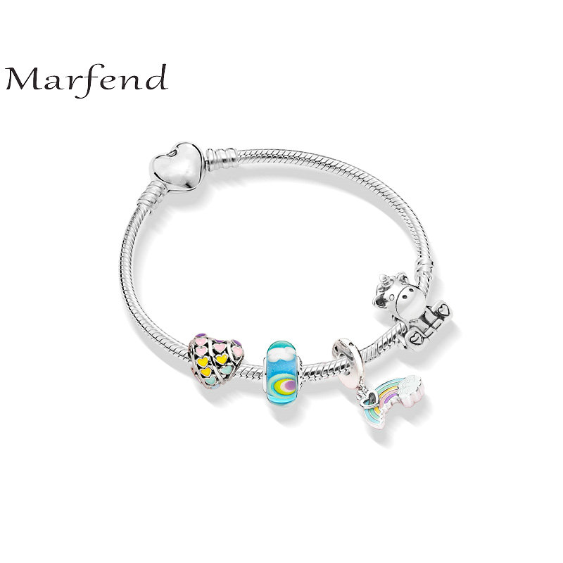 Marfend 925 silver bracelet rainbow heart shape Dreamland Fit Original Pandora Bracelet Women DIY Jewelry love Gifts 2015 20 pandora diy page 1
