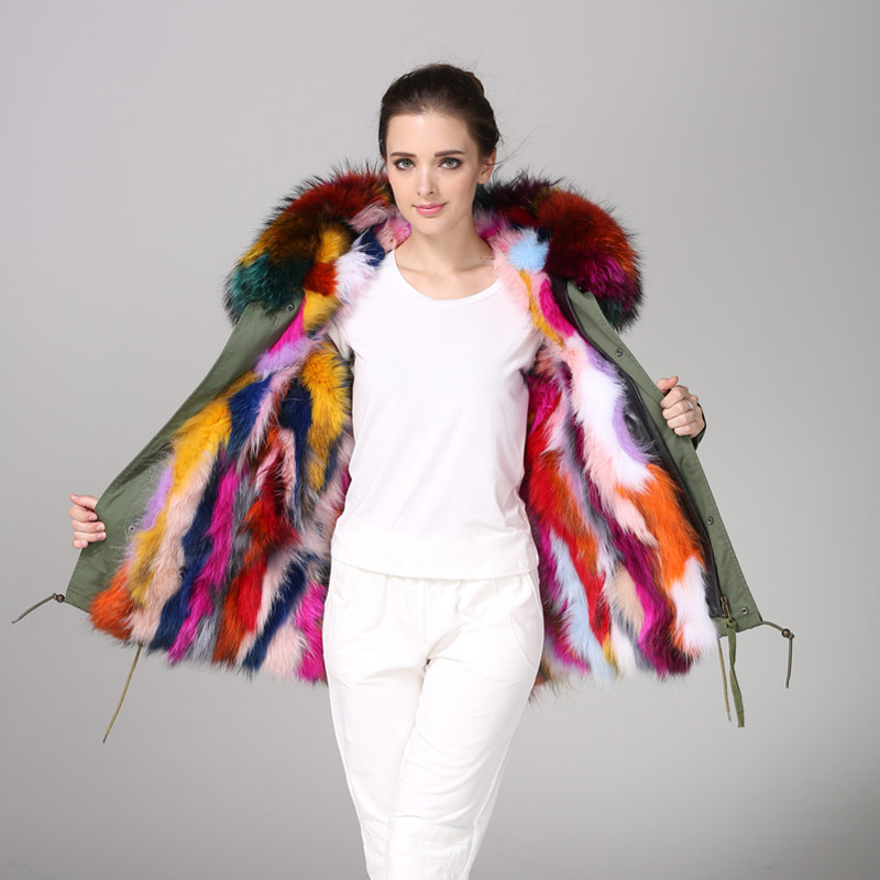 Mulitcolor fox fur for ladies winter wear, fashion short style colorful fox fur long hair waterproof fabric for mr mr wear