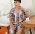 fashion sleepwear faux silk men's lounge short sleeve t shirts shorts set men robe (2pcs=1lot=1 t shirt+1 shorts) freeship
