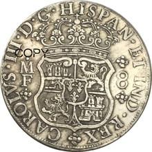 Мексика 8 Reales Charles III 1770 MF Мельхиор Посеребренная копия монет