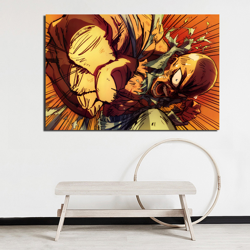 HD Japanese Anime One Punch Man Wall Art Canvas Posters And Prints Canvas Painting Decorative Picture For Living Room Home Decor in Painting Calligraphy from Home Garden