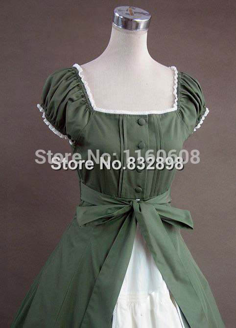 Robe Bal Vert Reconstitution De Gothique Théâtre Colonial Victorienne 9DW2EHI