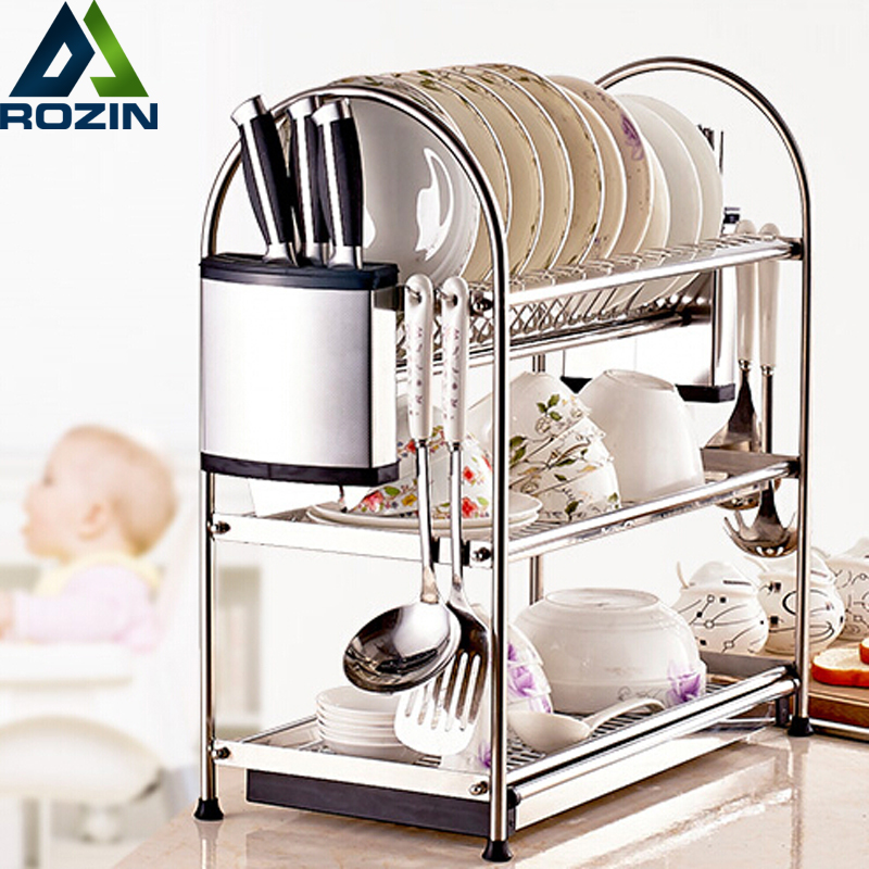 Deck Mount stainless steel Kitchen Shelf Hanger Organizer Hook Knife Pan Rack 3 Layers stainless steel single deck glass shelf