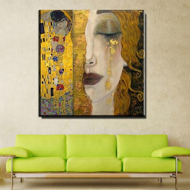 Captivating ZZ757 Moderne Ölgemälde Leinwand Kunst Abstrakte Gustav Klimt Goldene  Tränen Wandbilder Für Wohnzimmer Wohnkultur Gedruckt Photo