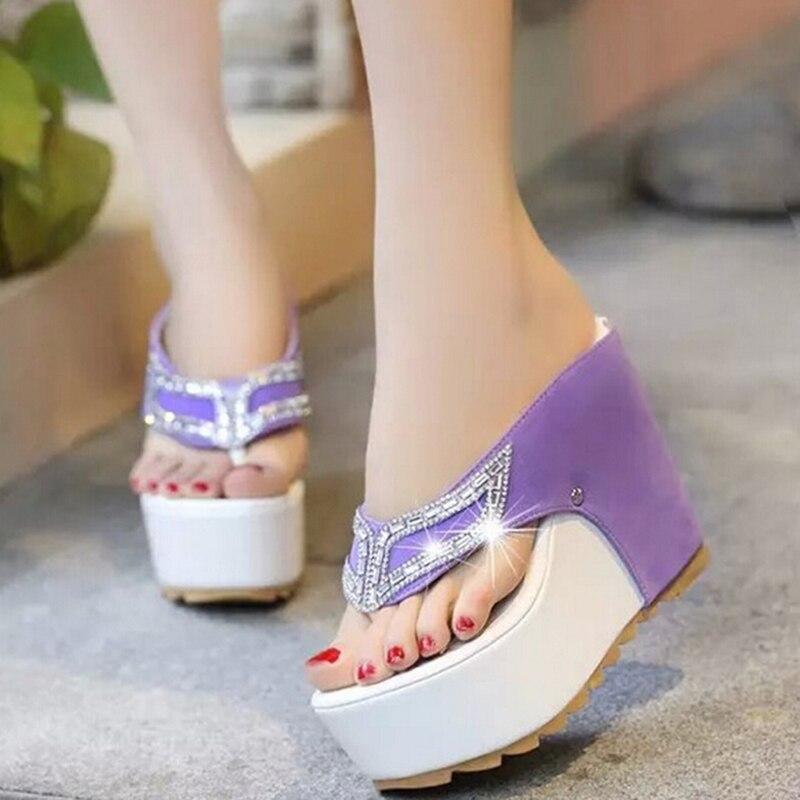 723402e0f37c39 2018 Brand Thick Bottom Platform Flip Flops Rhinestone Wedge Heel Shoes  Patchwork Woman Summer Sandals A821W. sku  32663885615