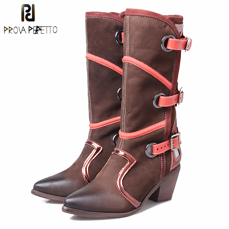 Prova Perfetto Retro Style Mixed Color Belt Buckle Knee High Boots Women Fashion Pointed Toe Hollow Out Metal Ring Boots Winter punk style pure color hollow out ring for women