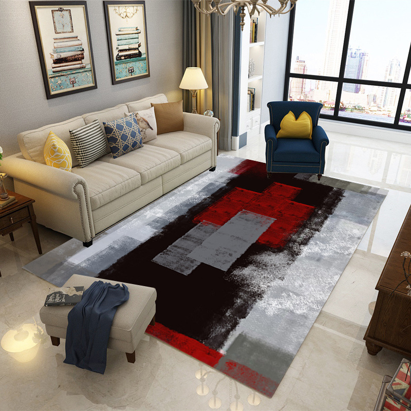 Ink Painting Nordic Carpets For Living Room Rectangle Bedroom Area Rug Anti-slip Coffee Table Floor Mats Bedside RugsInk Painting Nordic Carpets For Living Room Rectangle Bedroom Area Rug Anti-slip Coffee Table Floor Mats Bedside Rugs