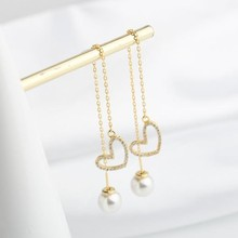 JC 2019 New Product Free Shipping S925 Sterling Silver Women Jewelry Vintage 14K Gold Plated Heart Shape Pearl Dangle Earring free shipping free shipping 12284 gray south sea mabe pearl dangle earring