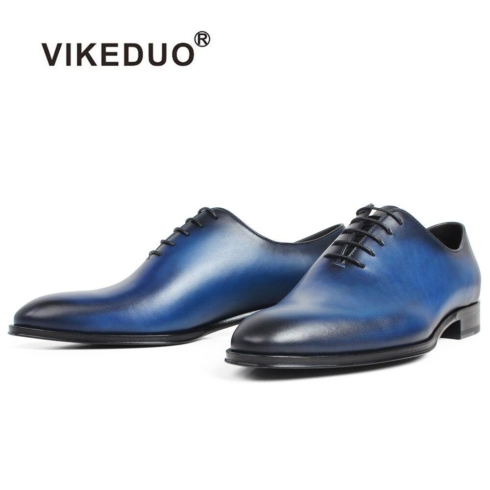 Pele Escritório Homens Vikeduo Dos Couro Sapatos Liso Calçado Formal Oxford Vestido Mão Plana Azul De Masculino Feitos Casamento Blue À Vaca 1YxXP1q6r