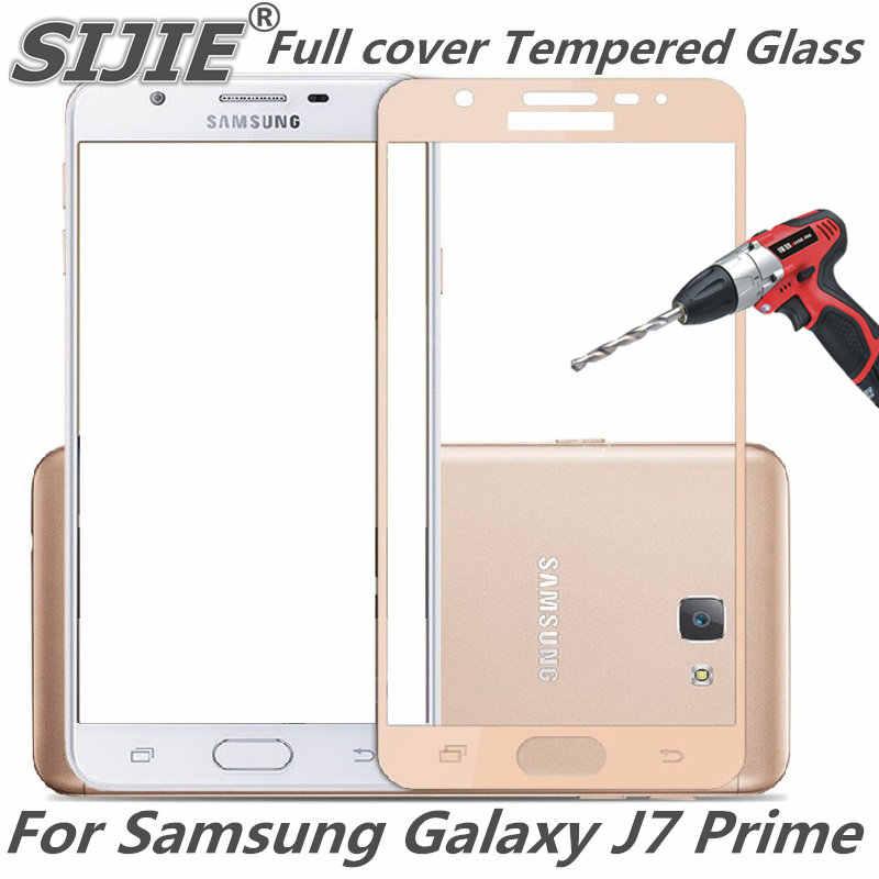 غطاء كامل من الزجاج المقسى لهاتف سامسونج جالاكسي J7 برايم G610 G610F G610M G610Y شاشة واقية باللون الأسود شاشة عرض إطار 5 بوصات