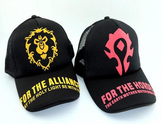 WOW World of Warcraft Horde Alliance LOGO Print Snapback Baseball Mesh Cap  Black Hats 1351adc0882