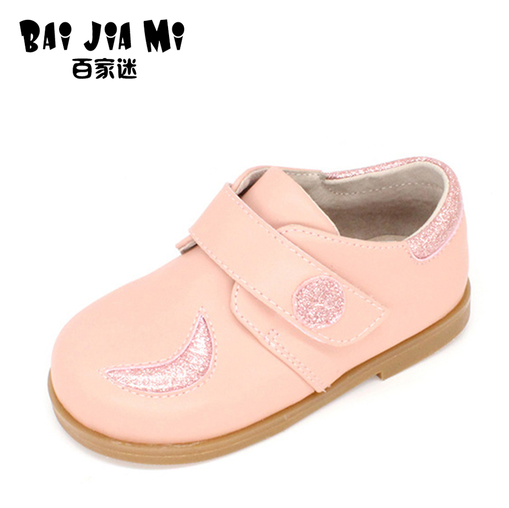 BAIJIAMI 2017 Spring Autumn Children Leather Shoes Children's School Dress Shoes Pink Fashion Princess Casual Shoes wendywu spring autumn children fashion pu leather heeled shoe for baby girsl rhinestone princess dance shoes gold toddler