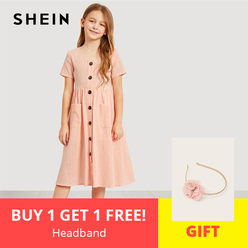 SHEIN Kiddie Pink V Neck Button Up Pocket Front Trapeze Girls Shirt Dress 2019 Spring Elegant Kids Dresses For Girls Clothes