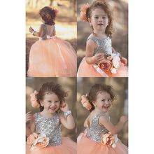 2016 New Arrival Hot Sale Lovely Princess Ball Gown Orange Tulle Lace Sequined Flower Girl's Dresses For Wedding Party