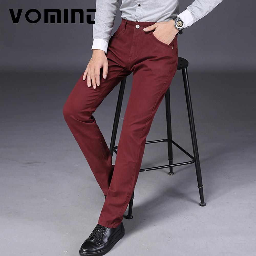 Vomint Фирменная Новинка мужские Повседневные штаны высокое эластичные Ткань Стройный Резка карман брюк знак Большой Размер (44) 46 v7s1p008