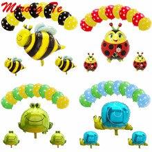 13pcs Bee Foil Balloons Black Yellow Polka Dots Latex Globos Set Bees Pet Animal Birthday Party Decoration Baby Shower Supplies стоимость